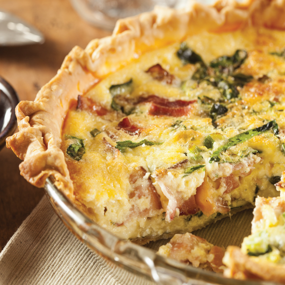 Five Onion Quiche with Bacon and Fontina Cheese